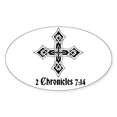 2 Chr 7:14 Kreuz - Sticker (Oval)