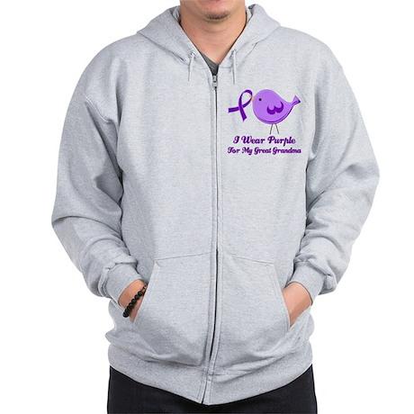 I Wear Purple For My Great Grandma Zip Hoodie