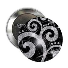 "Silver Glitter Swirl 2.25"" Button"