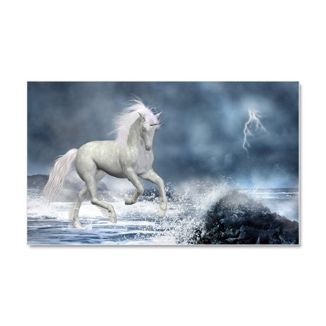White Unicorn Car Magnet 20 x 12