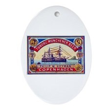 Denmark Beer Label 3 Ornament (Oval)