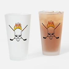Skull Hockey Drinking Glass
