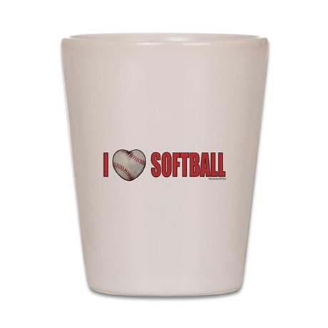 Softball Love 2 Shot Glass