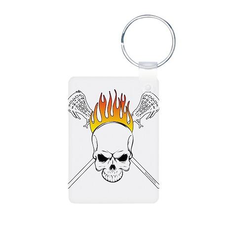 Skull Lacrosse Aluminum Photo Keychain