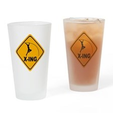 Pole Vault X-ing Drinking Glass