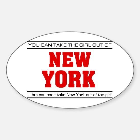 'Girl From New York' Sticker (Oval)