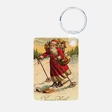 Santa on Skis Vintage Christm Aluminum Photo Keych