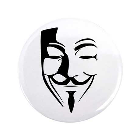 "Fawkes Silhouette 3.5"" Button (100 pack)"