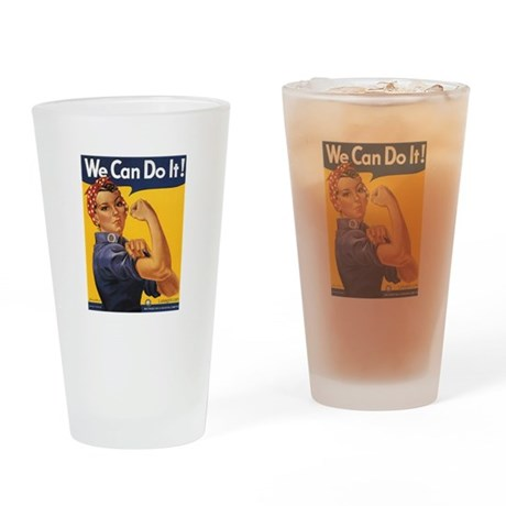 We Can Woman Retro Vintage Po Drinking Glass