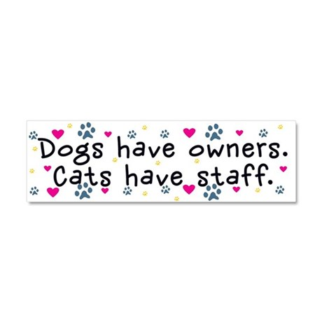 Dogs Have Owners, Cats Staff Car Magnet 10 x 3