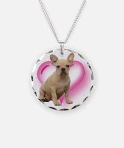 French Bulldog puppy Necklace Circle Charm