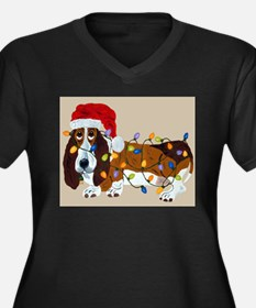 Basset Tangled In Christmas Lights Women's Plus Si
