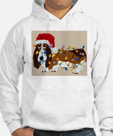 Basset Tangled In Christmas Lights Hoodie