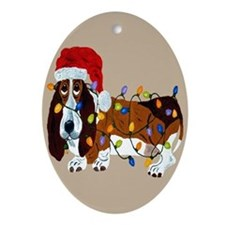 Basset Tangled In Christmas Lights Ornament (Oval)