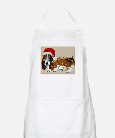Basset Tangled In Christmas Lights BBQ Apron