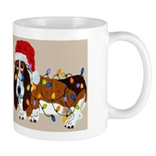 Basset Tangled In Christmas Lights Mug