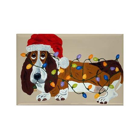 Basset Tangled In Christmas Lights Rectangle Magne