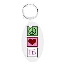 Peace Love Sweet 16 Keychains