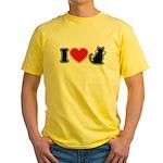 I Love (Heart) Pussy ... Cat Yellow T-Shirt