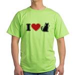I Love (Heart) Pussy ... Cat Green T-Shirt