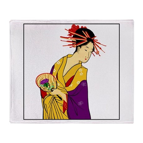 Geisha Girl Throw Blanket