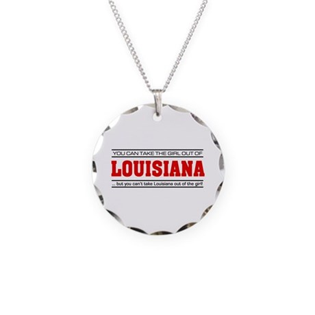 'Girl From Louisiana' Necklace Circle Charm