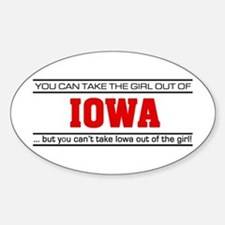'Girl From Iowa' Sticker (Oval)