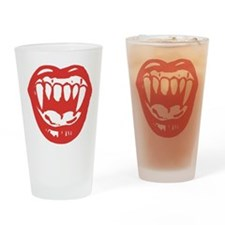 Red Vampire Teeth Drinking Glass