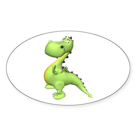 Puff The Magic Dragon - Green Oval Sticker