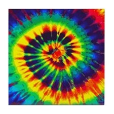 Bright Tie-Dye Tile Coaster