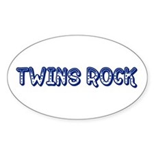 Blue Twins Rock Oval Decal