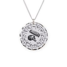 Cute Harp Necklace Circle Charm