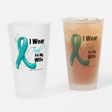 I Wear Teal Wife Ovarian Cancer Drinking Glass