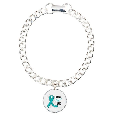 I Wear Teal Wife Ovarian Cancer Charm Bracelet, On