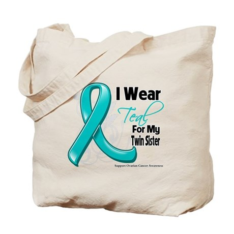 Teal Twin Sister Ovarian Cancer Tote Bag