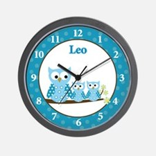 Blue Hoot Owls Wall Clock - Leo