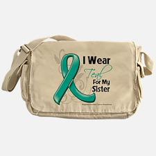 I Wear Teal Sister Ovarian Cancer Messenger Bag