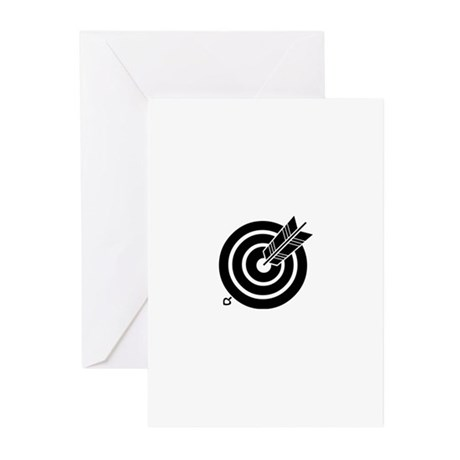 Arrow hit a round target Greeting Cards (Pk of 20)
