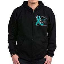 I Wear Teal Mom Ovarian Cancer Zip Hoodie