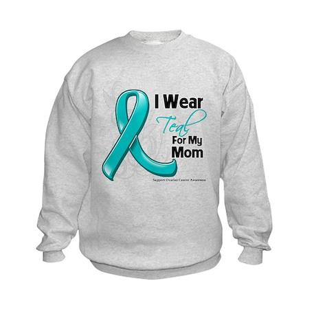 I Wear Teal Mom Ovarian Cancer Kids Sweatshirt