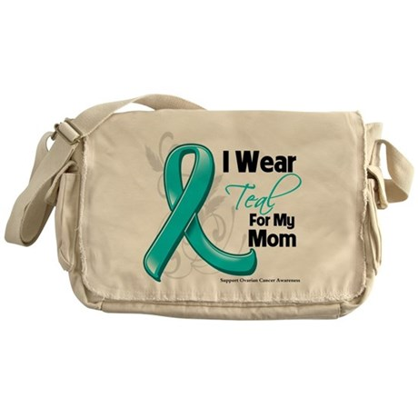 I Wear Teal Mom Ovarian Cancer Messenger Bag