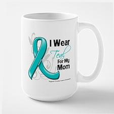 I Wear Teal Mom Ovarian Cancer Ceramic Mugs