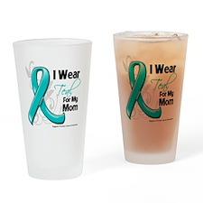 I Wear Teal Mom Ovarian Cancer Drinking Glass