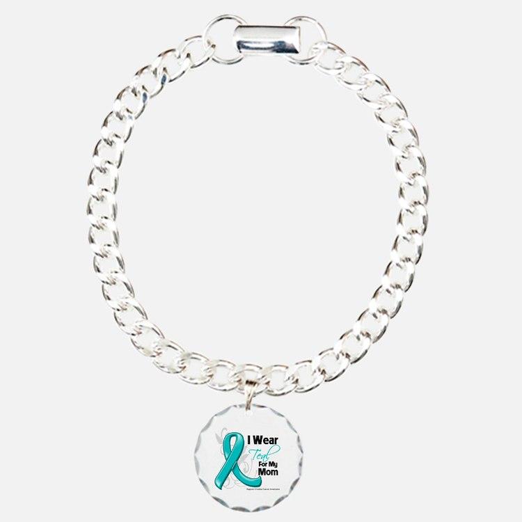I Wear Teal Mom Ovarian Cancer Charm Bracelet, One
