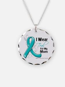 I Wear Teal Mom Ovarian Cancer Necklace