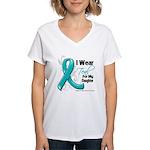 Teal Daughter Ovarian Cancer Women's V-Neck T-Shir