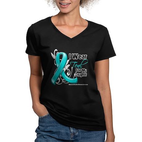 Teal Daughter Ovarian Cancer Women's V-Neck Dark T