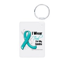 Teal Grandma Ovarian Cancer Keychains