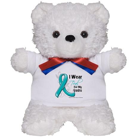 Teal Grandma Ovarian Cancer Teddy Bear