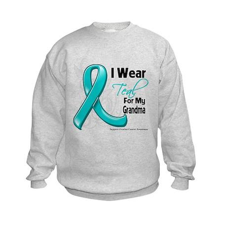 Teal Grandma Ovarian Cancer Kids Sweatshirt